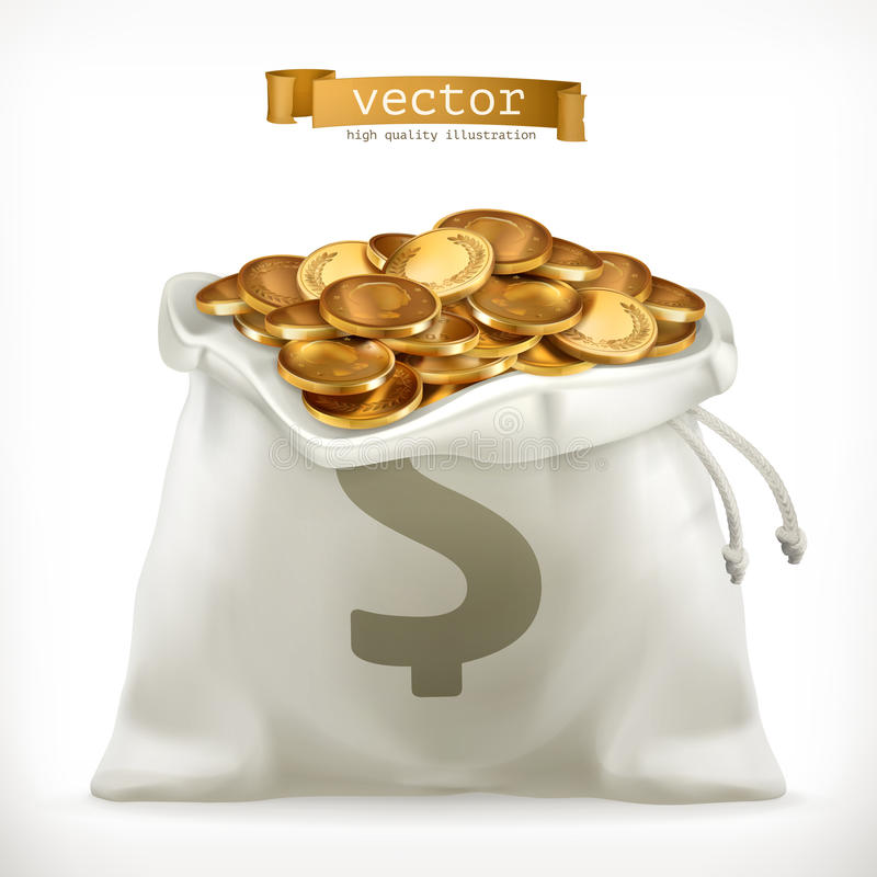 Moneybag and gold coins. Money vector icon royalty free illustration