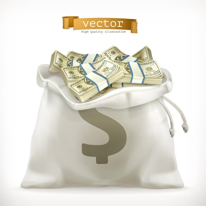 moneybag Papiergeld vectorpictogram royalty-vrije illustratie