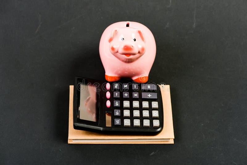 Moneybox с калькулятором E r Бухгалтерия и зарплата управление капиталом bookishly Интернет стоковые изображения rf