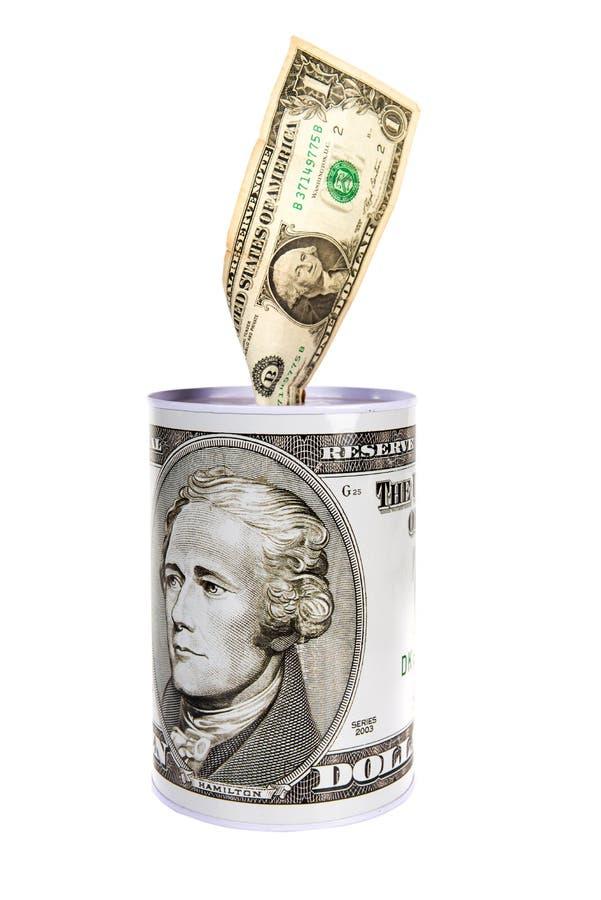 Moneybox bajo la forma de tarro del hierro con la imagen 100 dólares ningunos imagen de archivo libre de regalías