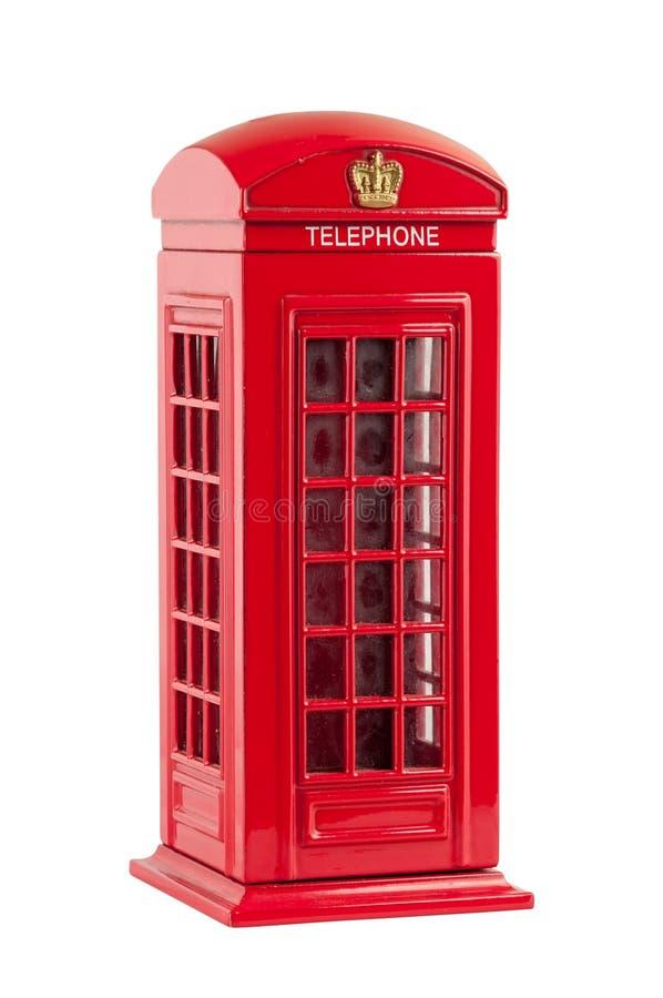 Moneybox die rode Britse telefooncel vertegenwoordigen stock fotografie