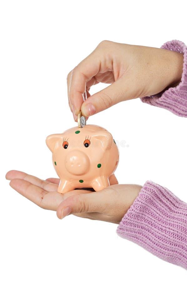 Moneybox et devises photo stock