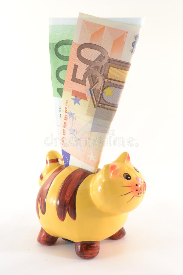Moneybox with euro banknotes royalty free stock photos