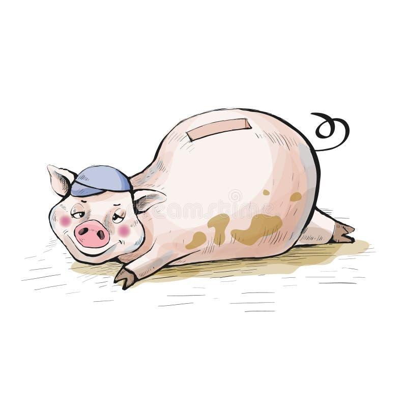 moneybox Le porc se situe dans une piscine sale illustration libre de droits