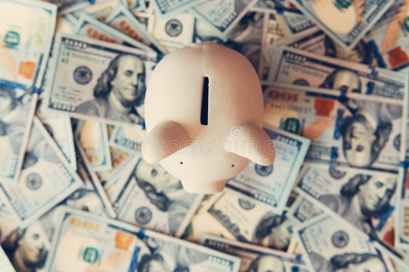 Moneybox leitão com dinheiro do dólar imagem de stock royalty free