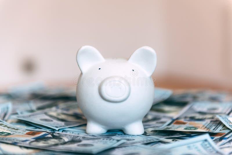 Moneybox leitão com dinheiro do dólar fotos de stock