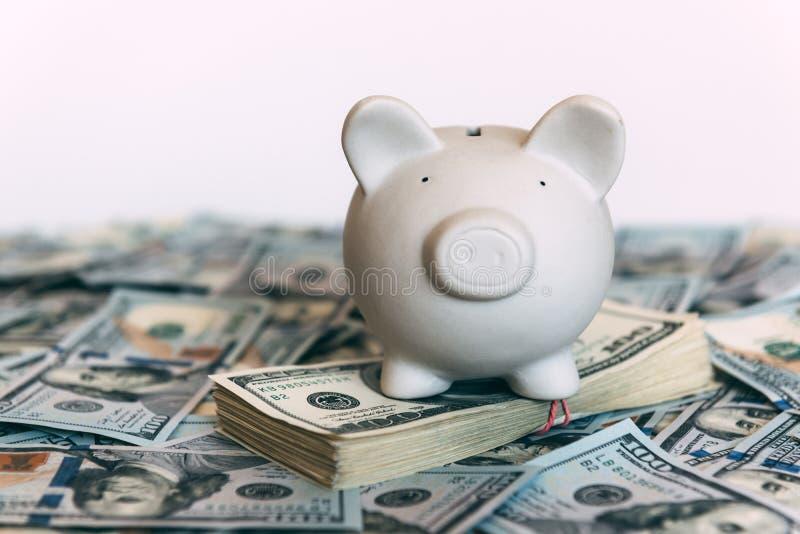 Moneybox leitão com dinheiro do dólar imagens de stock