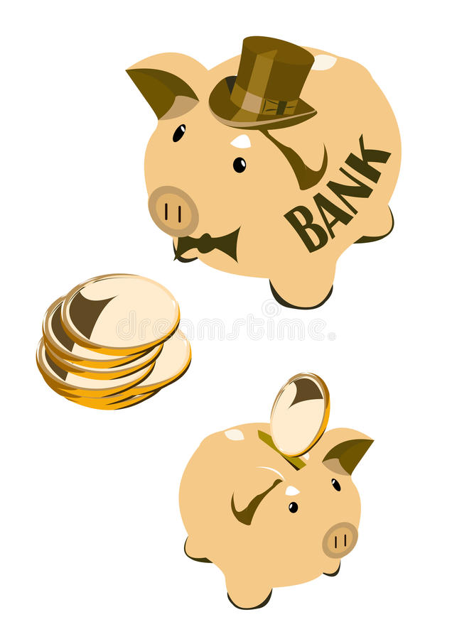 Download Moneybox pig stock vector. Image of pocket, parsimony - 26624816