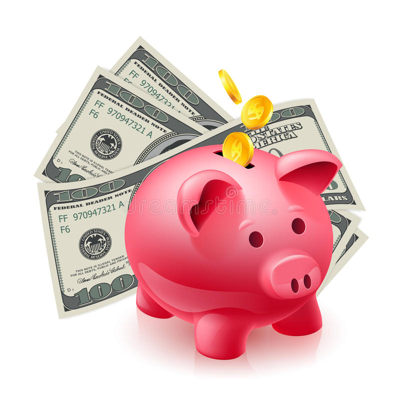 Download Moneybox - pig and dollars stock vector. Illustration of debt - 27817315