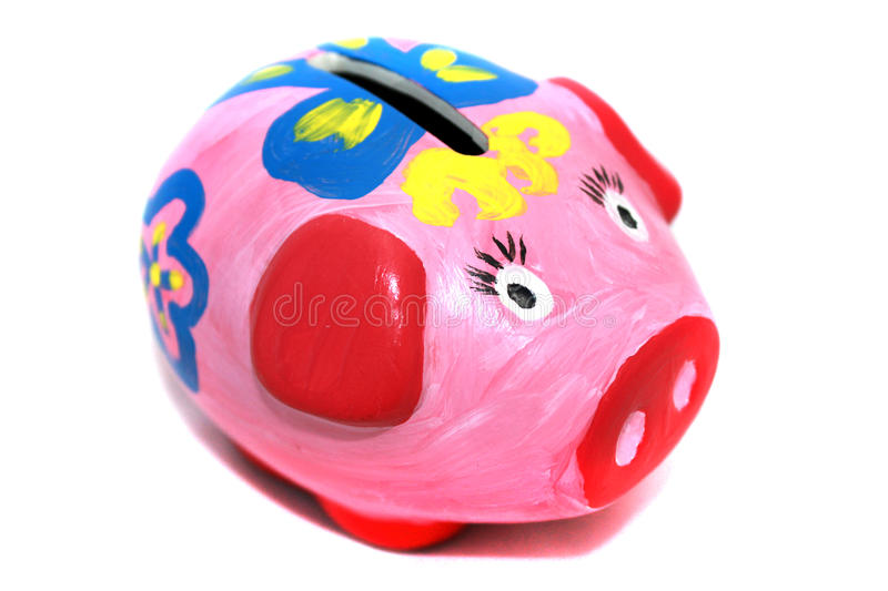Pink Piggy bank hadnmade stock photo