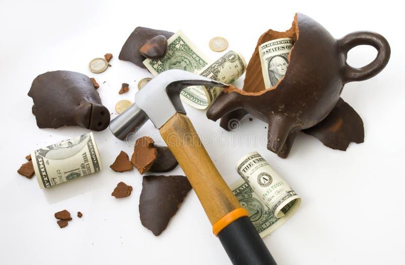 Moneybox piggy quebrado fotografia de stock royalty free