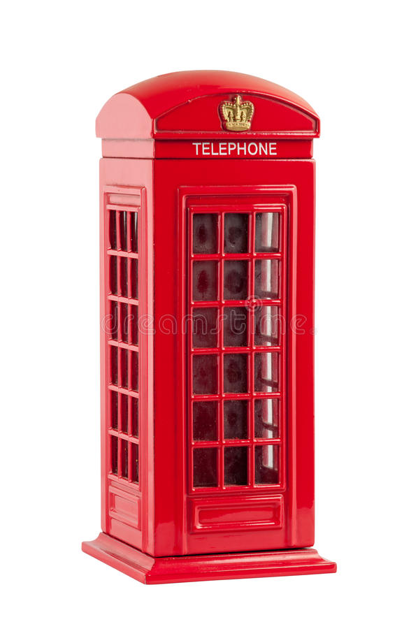 Moneybox representing red british telephone booth. Isolated on white background with clipping path stock photography