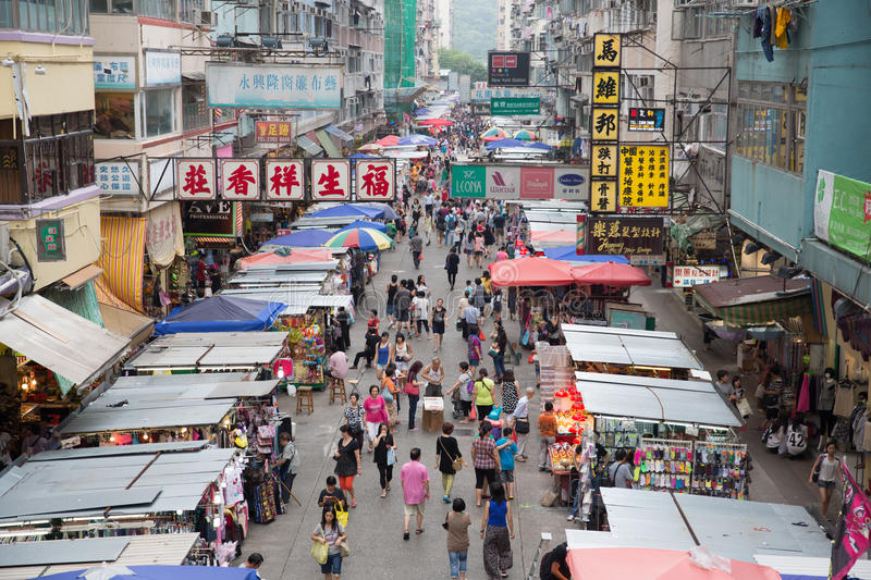 Mong Kok. Is an area in the Yau Tsim Mong District on Kowloon West, Hong Kong.With its extremely high population density of 130,000 person per km square,Mongkok stock images
