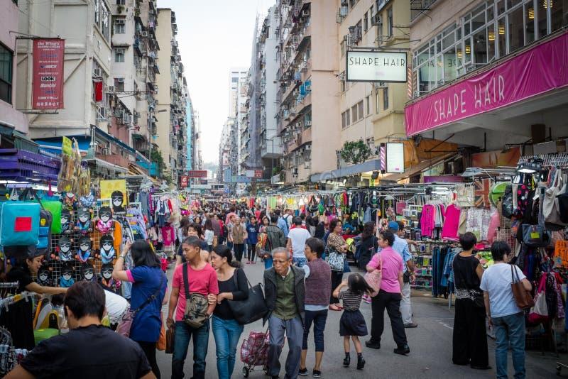 Mong Kok gatamarknad Hong Kong arkivfoton