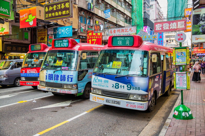 Mong Kok Mini buses. Minibus parked in the street on the busy streets of Mong KoK, Kowloon, Hong Kong, China stock photos