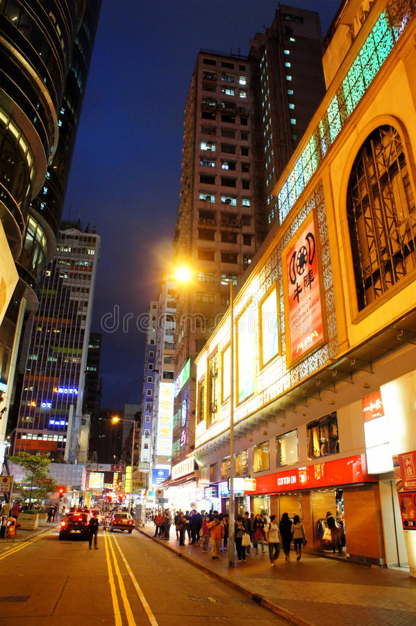Download Mong Kok night view editorial image. Image of double - 24022785