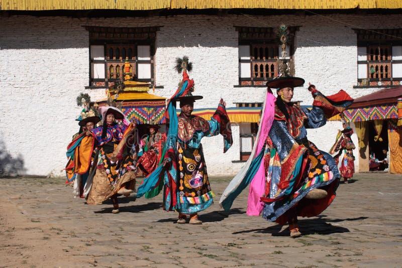 Mongar Tsechu, danseur de chapeau noir image libre de droits