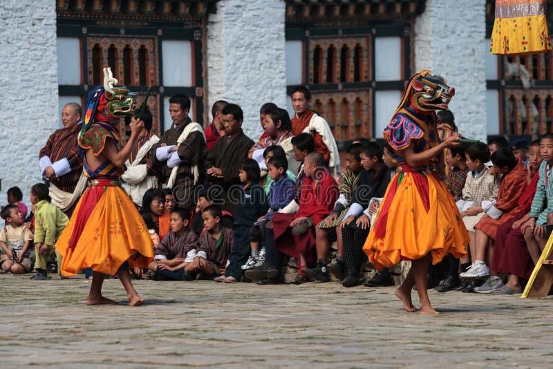 Mongar Tsechu, danseur de masque images libres de droits