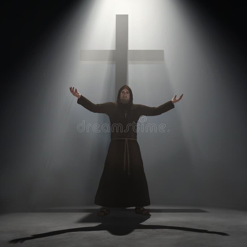 Monge antes de uma cruz ilustração stock
