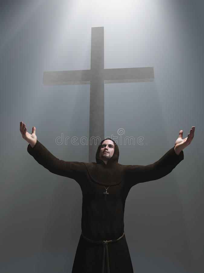 Monge antes de uma cruz ilustração do vetor