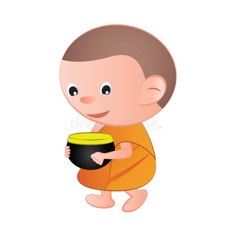 A monge budista dos desenhos animados grandes da cabeça da bolha pede um favor recebe o alimento o ilustração do vetor