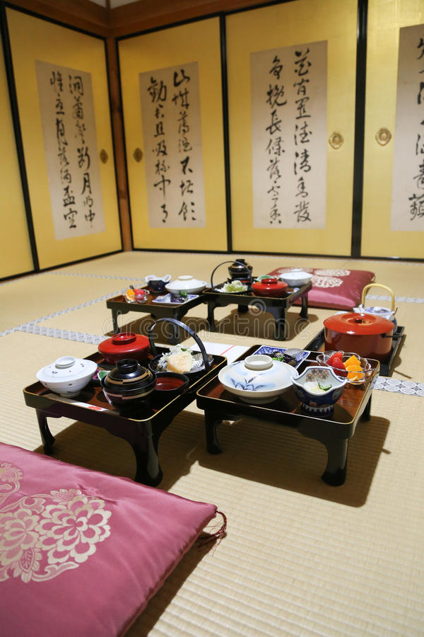 Monge budista japonesa tradicional Meal imagem de stock royalty free