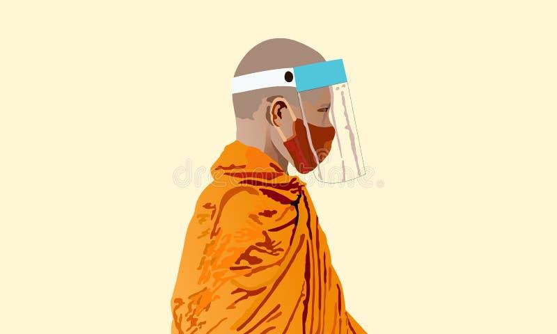 Monge budista usa máscara de saúde e escudo facial imagens de stock royalty free