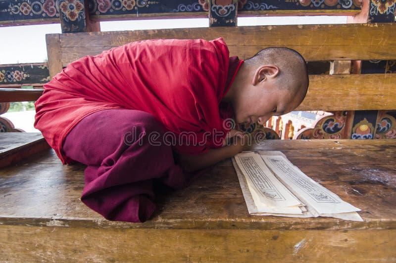 monge do principiante de Punakha Dzong, Butão, durante a mantra chanting imagens de stock