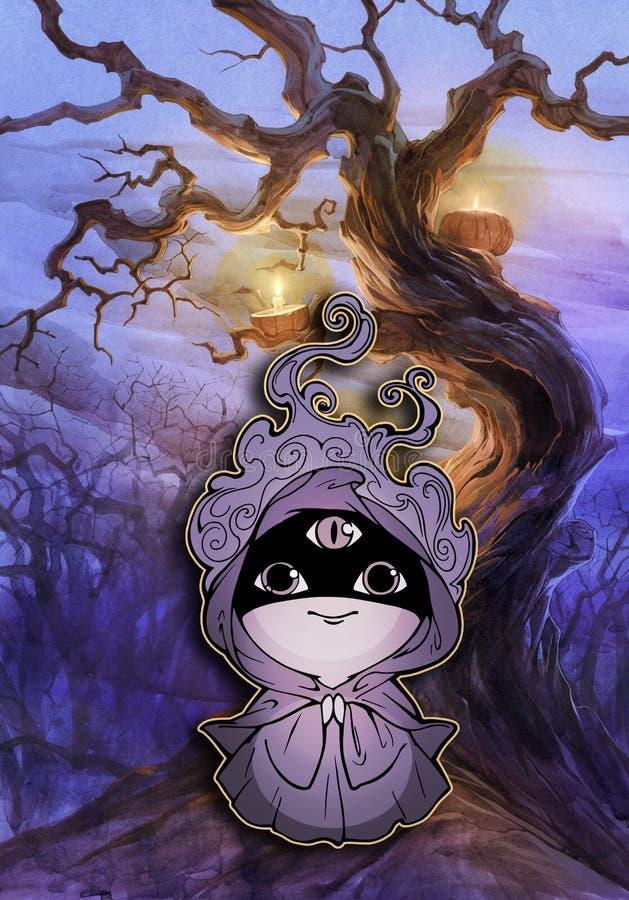 Monge fantástica misteriosa dos desenhos animados ilustração royalty free