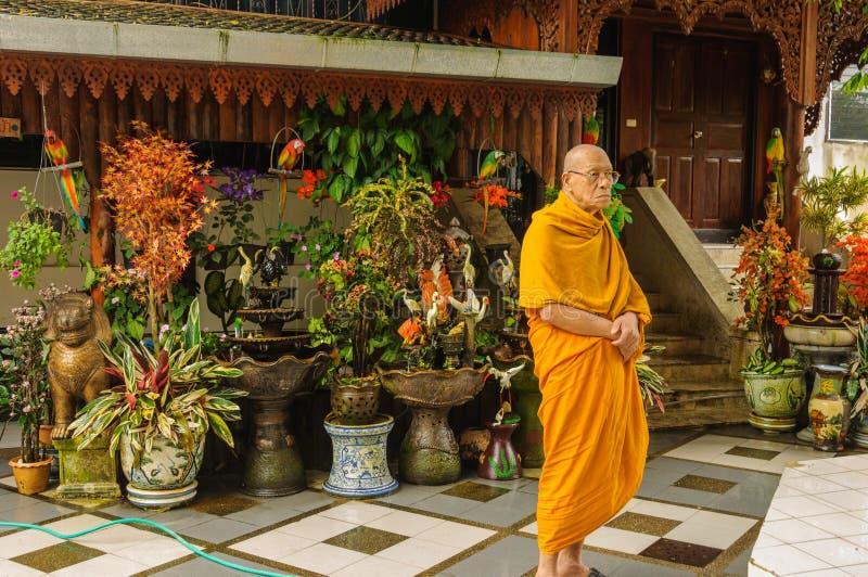 Monge pensativa, contemplativa no santuário foto de stock royalty free