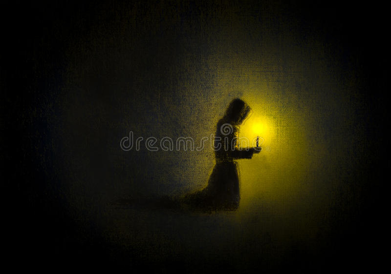 Monge Praying ilustração do vetor