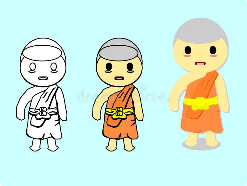 Monge tailandesa isolada no fundo azul, vetor do estilo dos desenhos animados ilustração stock