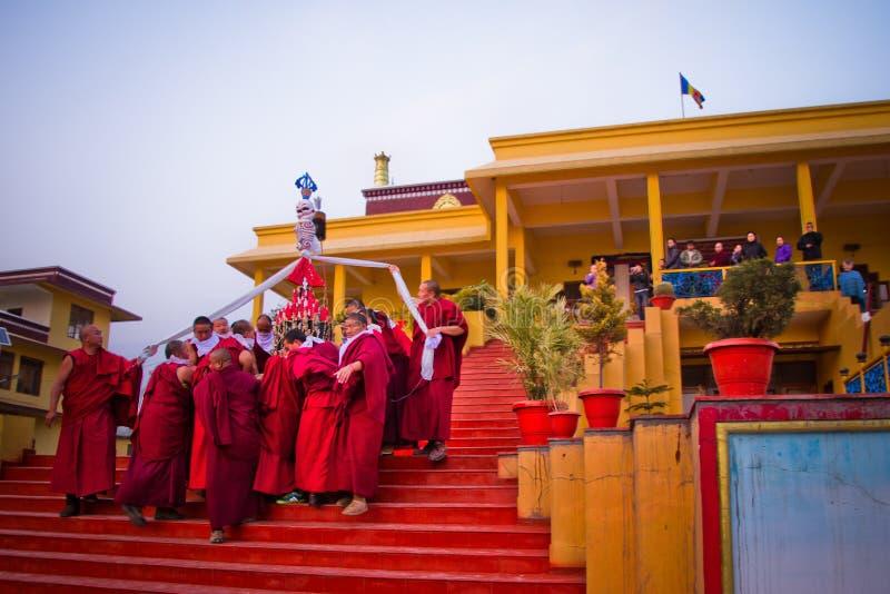 Monges budistas do monastério de Gyuto, Dharamshala, Índia fotografia de stock