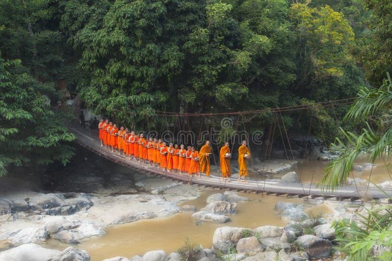 MONGES BUDISTAS: Monges tailandesas que andam na manhã para Receive F fotografia de stock