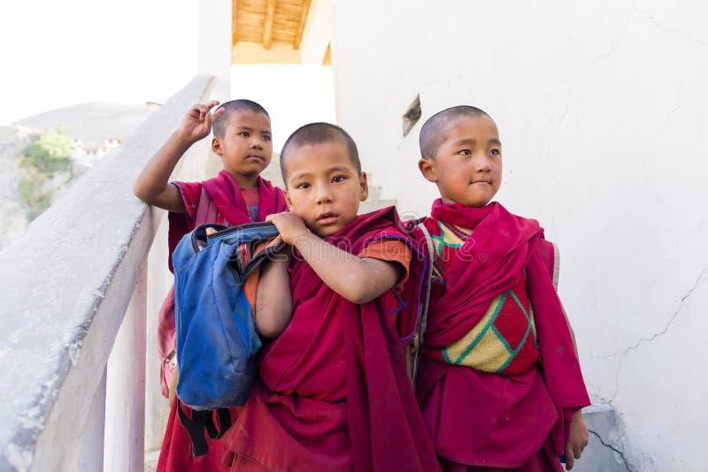 Monges do principiante na escola do monastério de Diskit na região de Ladakh, Índia fotografia de stock