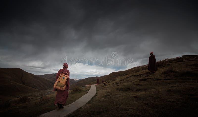Monges na fuga de montanha foto de stock royalty free