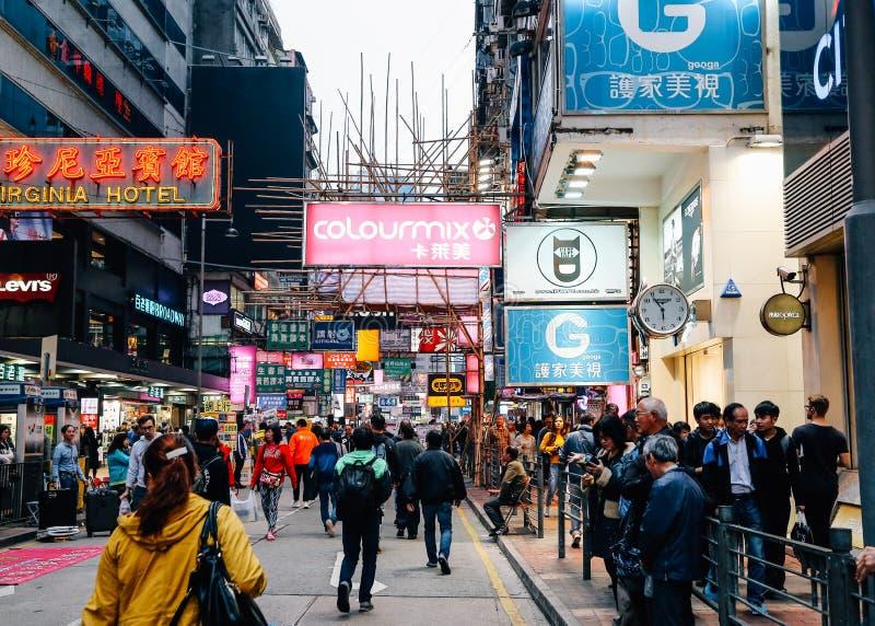 Mongkok nocy targowa ulica w Hong Kong zdjęcia royalty free