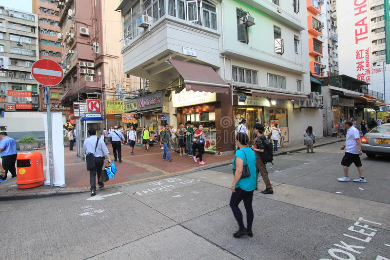 Mongkok-Straßenansicht in Hong Kong stockfotos