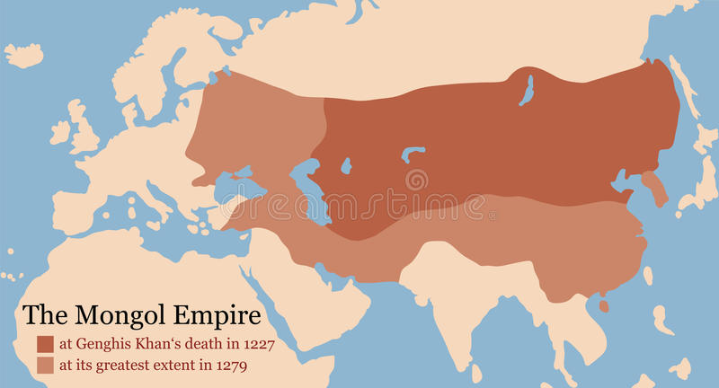 Mongol Empire Conquest Map royalty free illustration