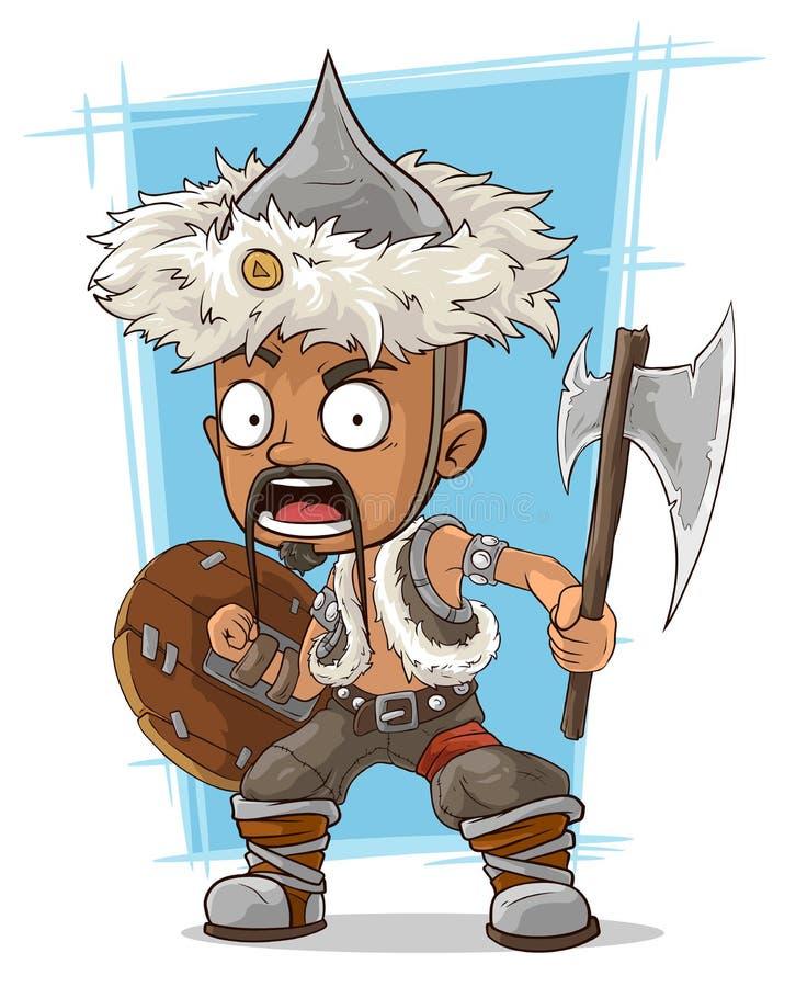 Mongole barbare de bande dessinée avec la hache illustration libre de droits
