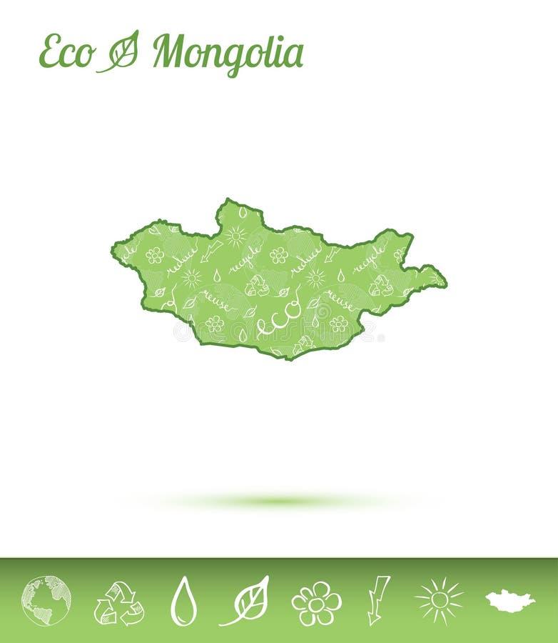 Mongolei-eco Karte gefüllt mit grünem Muster lizenzfreie abbildung