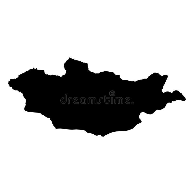 Mongolei - feste schwarze Schattenbildkarte des Landbereichs Einfache flache Vektorillustration lizenzfreie abbildung