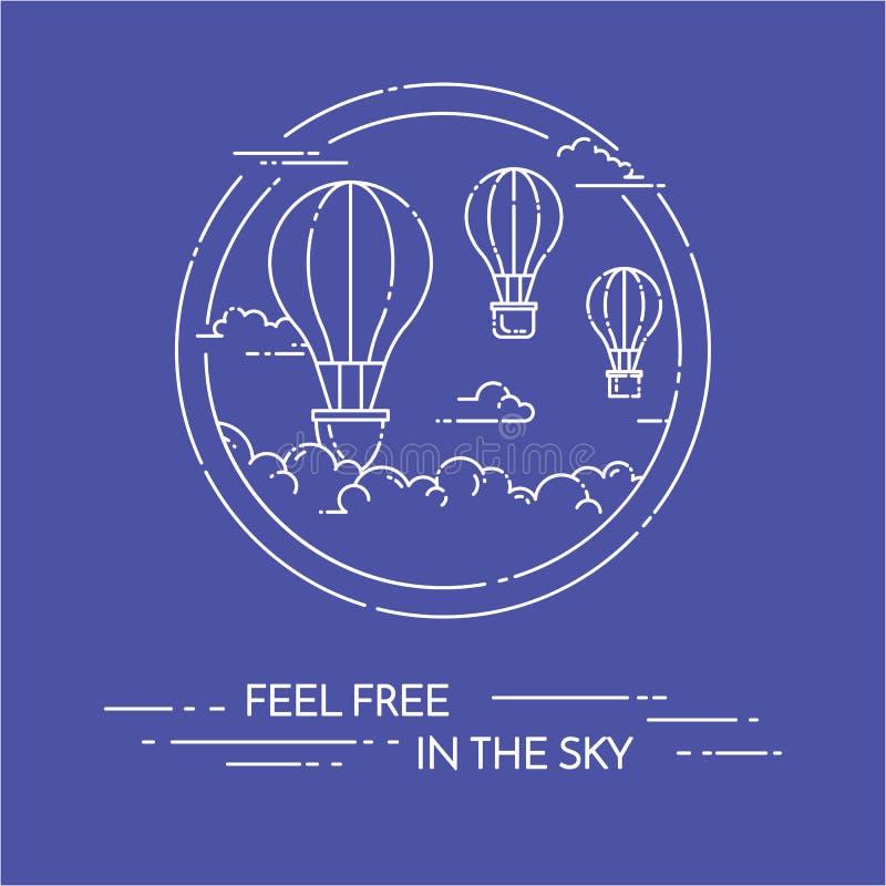 Mongolfiera in cielo isolato su fondo blu illustrazione vettoriale