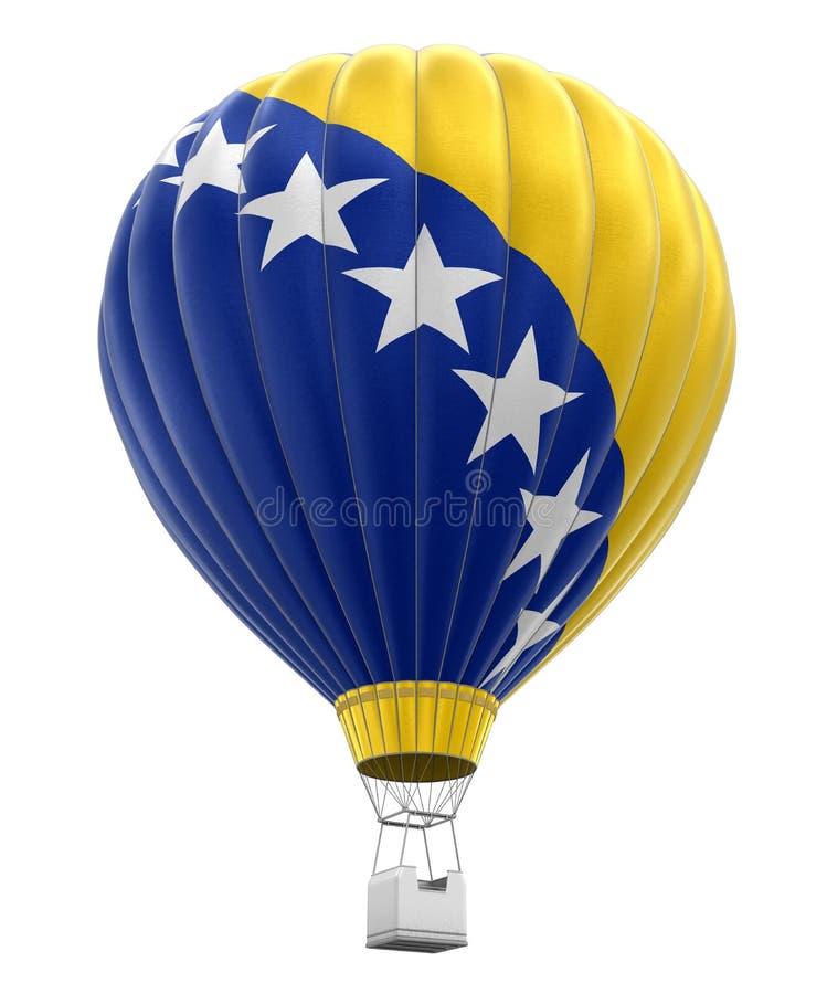 Mongolfiera con la bandiera della Bosnia-Erzegovina (percorso di ritaglio incluso) illustrazione vettoriale