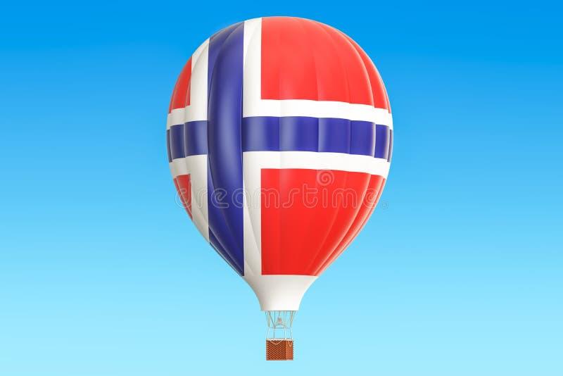 Mongolfiera con la bandiera norvegese, rappresentazione 3D royalty illustrazione gratis