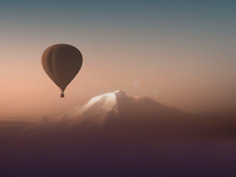Mongolfiera della siluetta che sorvola le montagne immagini stock