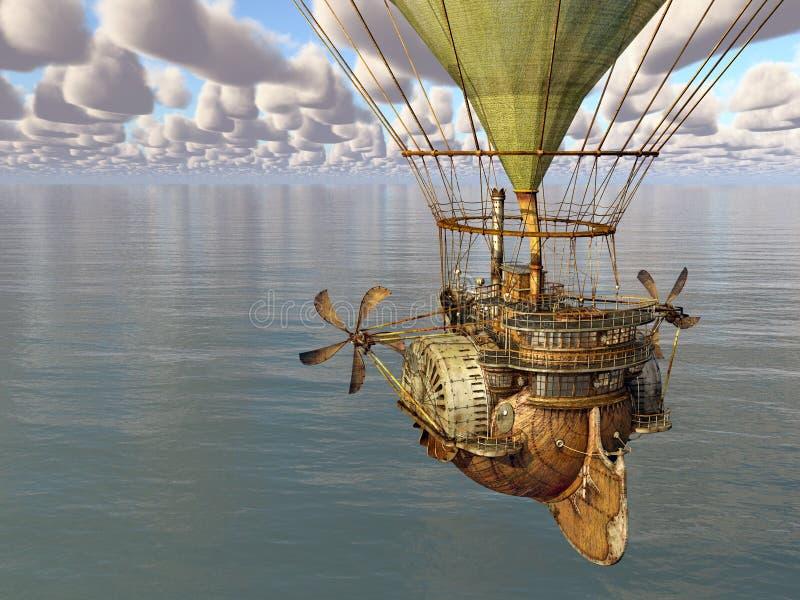 Mongolfiera di fantasia sopra il mare illustrazione vettoriale