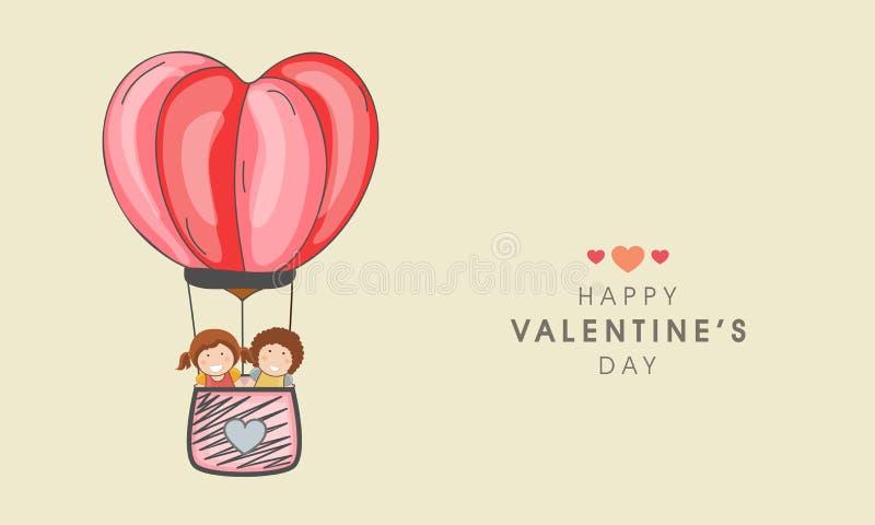 Mongolfiera di giro del bambino per la celebrazione di San Valentino illustrazione di stock