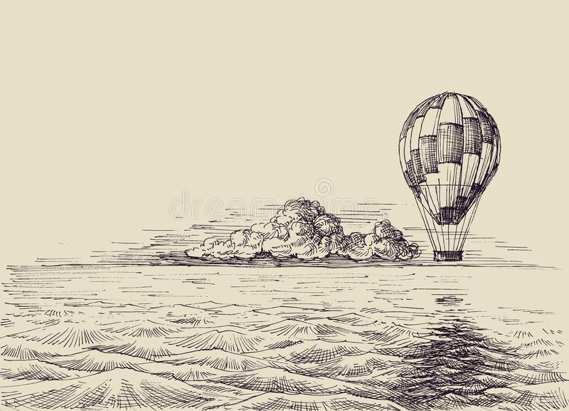 Mongolfiera sopra il mare illustrazione vettoriale
