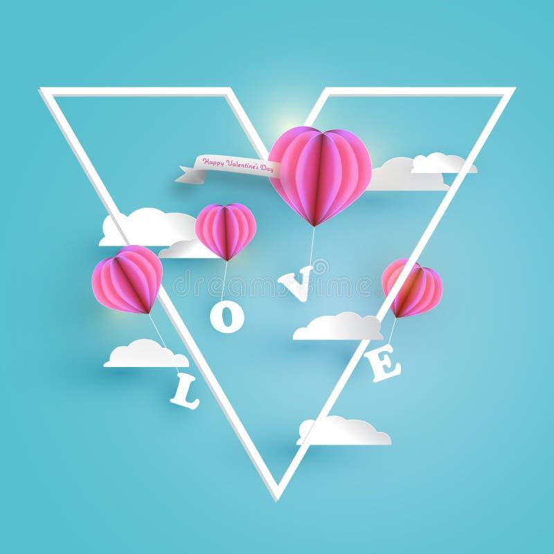Mongolfiere rosa astratte del cuore che portano la lettera di AMORE in cielo blu-chiaro con le nuvole bianche illustrazione vettoriale